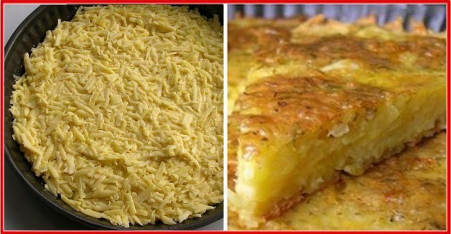 A burgonyát lereszelte, összekeverte a sajttal és tortaformába tette, majd megsütötte!