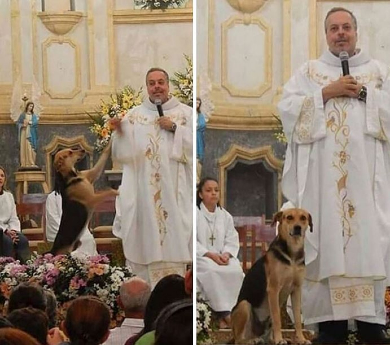 Ezért visz kutyát a misére a pap